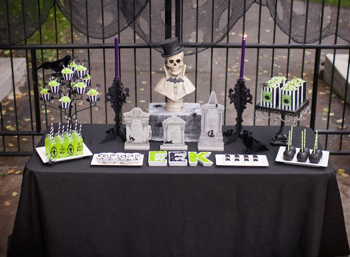 Spooky Halloween Party Table from a Spooktacular Halloween Party via Kara's Party Ideas | KarasPartyIdeas.com (9)