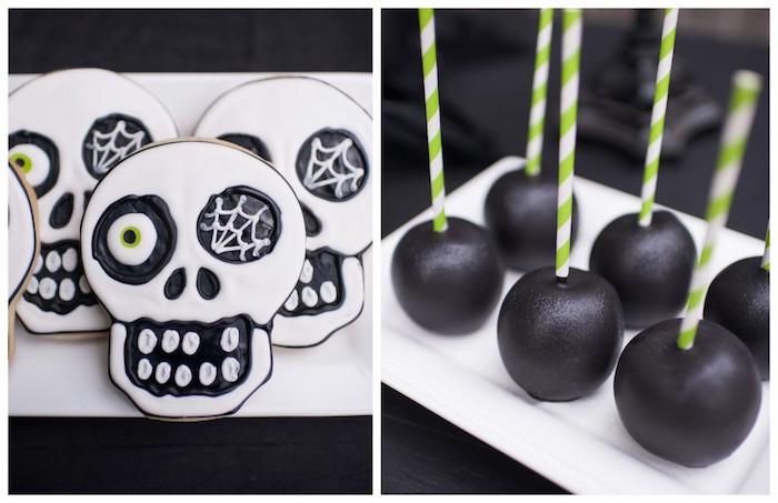 Skull sugar cookies & black candy apples from a Spooktacular Halloween Party via Kara's Party Ideas | KarasPartyIdeas.com (40)