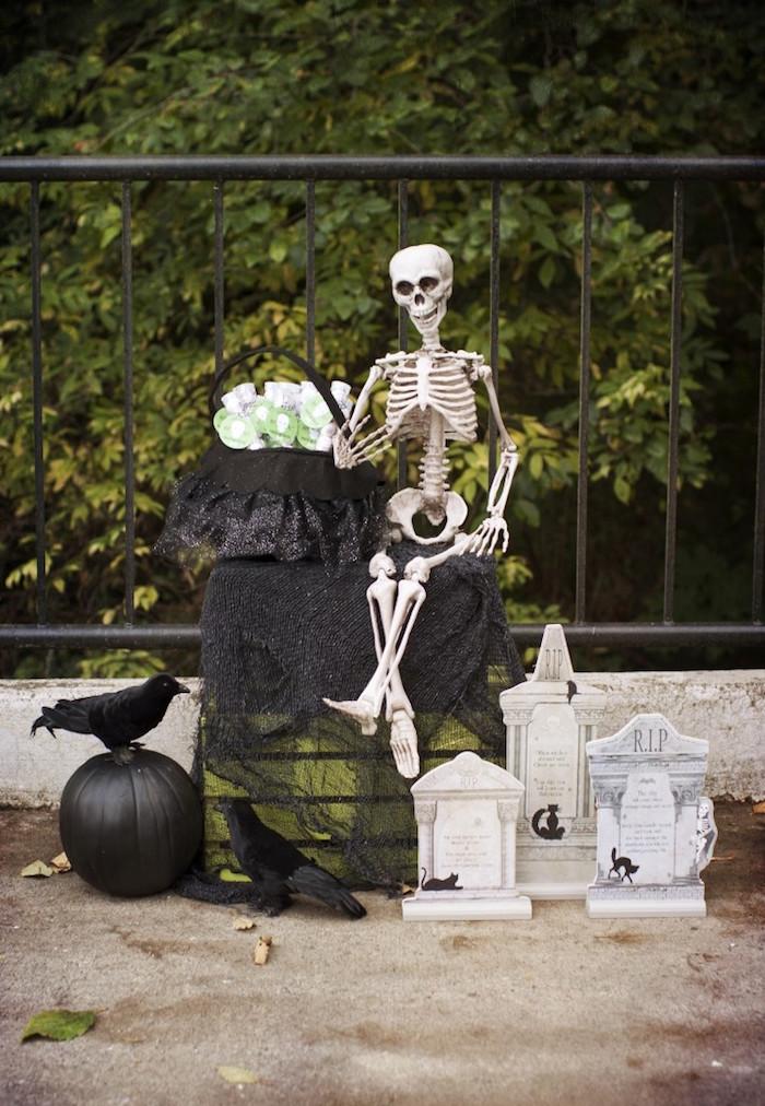 Skeleton cemetery from a Spooktacular Halloween Party via Kara's Party Ideas | KarasPartyIdeas.com (39)