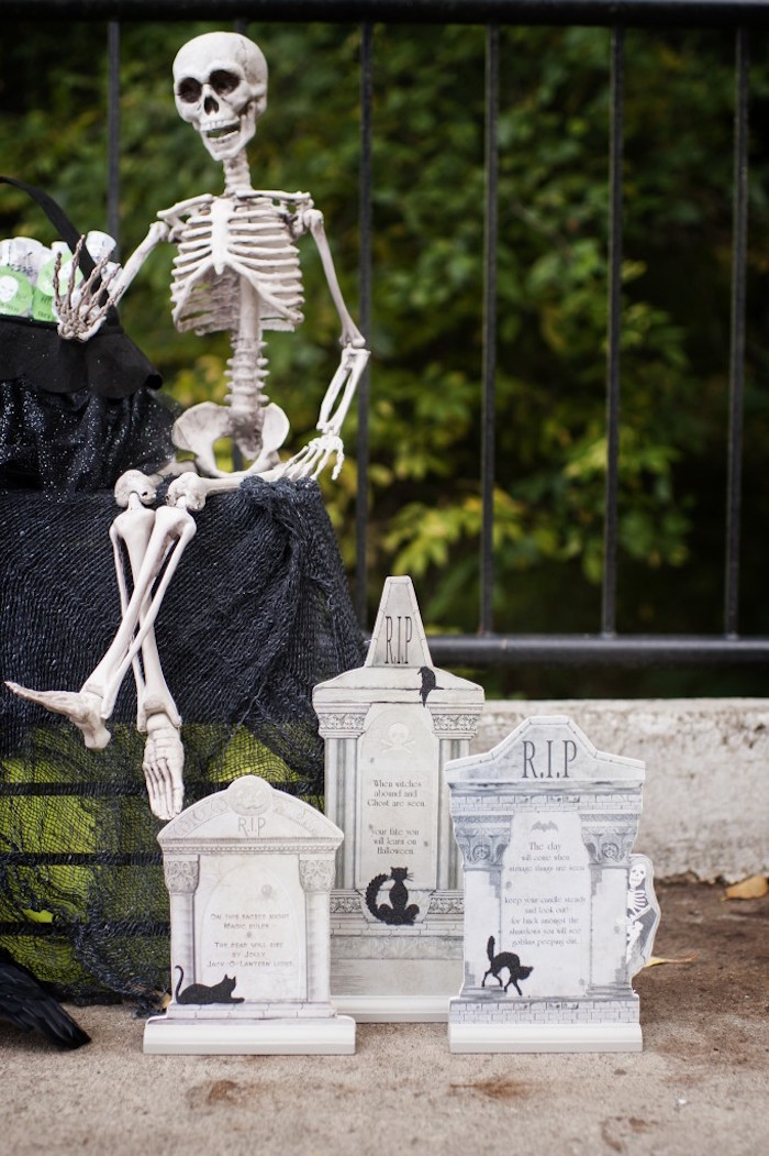 Skeleton cemetery from a Spooktacular Halloween Party via Kara's Party Ideas | KarasPartyIdeas.com (36)