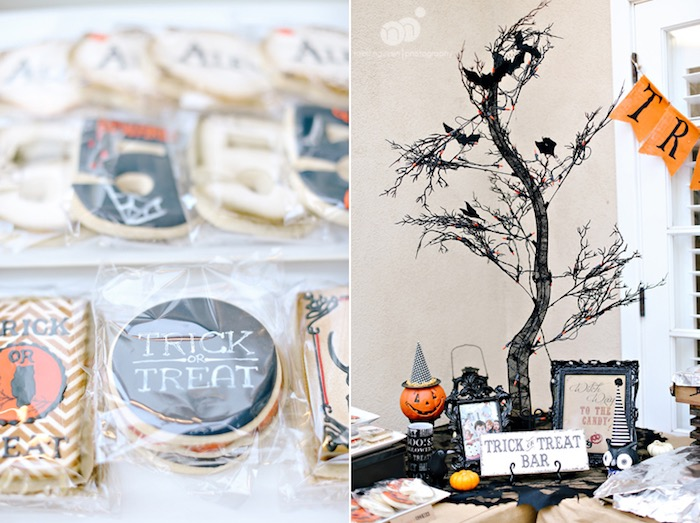 Trick or Treat Bar with custom Halloween cookies from a Spooky Halloween Inspired Birthday Party on Kara's Party Ideas | KarasPartyIdeas.com (23)