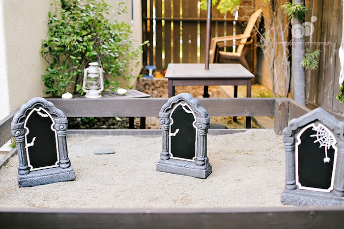 Faux cemetery from a Spooky Halloween Inspired Birthday Party on Kara's Party Ideas | KarasPartyIdeas.com (22)