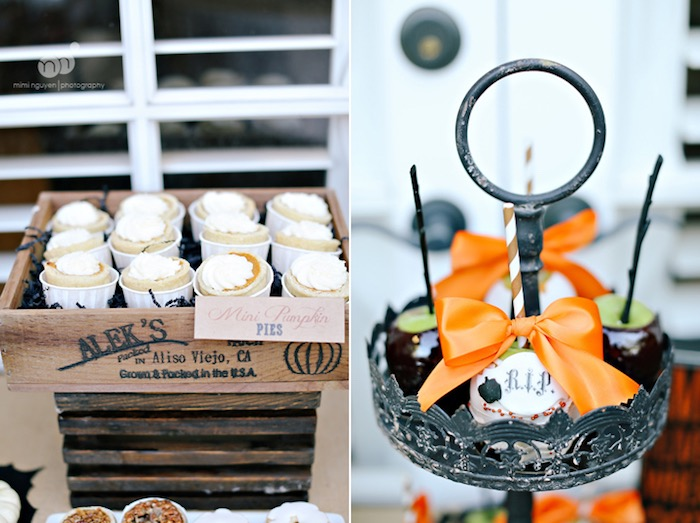 Mini pumpkin pies and candy apples from a Spooky Halloween Inspired Birthday Party on Kara's Party Ideas | KarasPartyIdeas.com (20)
