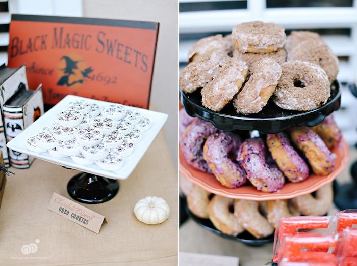Oreo cookies & doughnuts from a Spooky Halloween Inspired Birthday Party on Kara's Party Ideas | KarasPartyIdeas.com (19)