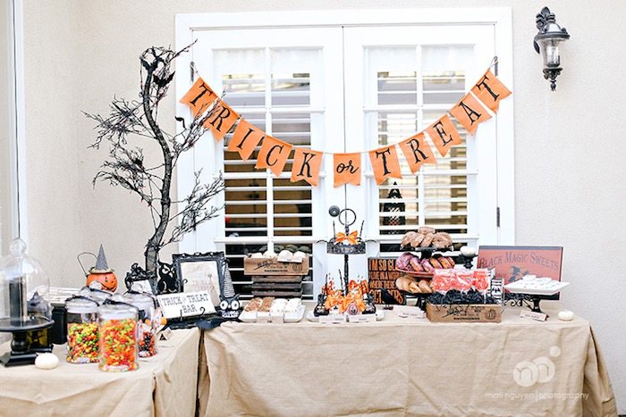 Trick or Treat Dessert Table from a Spooky Halloween Inspired Birthday Party on Kara's Party Ideas | KarasPartyIdeas.com (18)