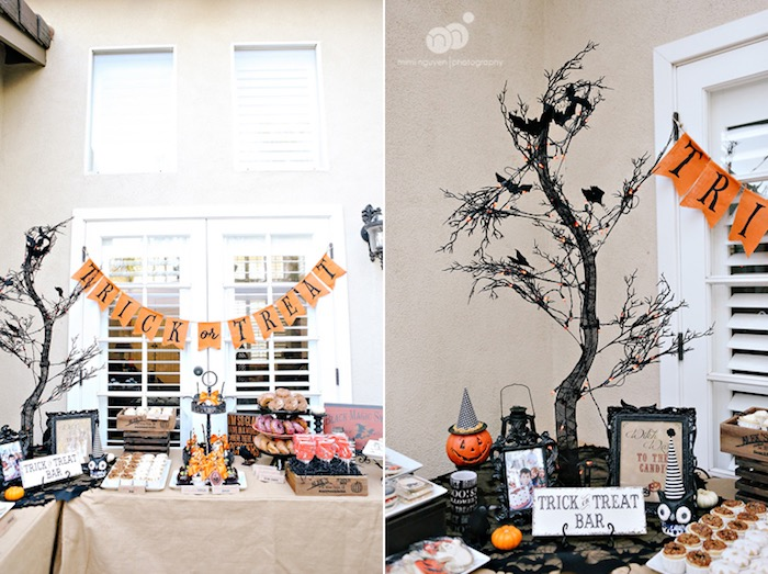 Trick or Treat Table from a Spooky Halloween Inspired Birthday Party on Kara's Party Ideas | KarasPartyIdeas.com (11)