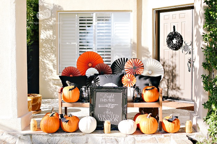 Pumpkin party entrance from a Spooky Halloween Inspired Birthday Party on Kara's Party Ideas | KarasPartyIdeas.com (31)