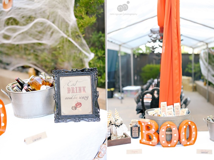 """""""Boo"""" party table from a Spooky Halloween Inspired Birthday Party on Kara's Party Ideas 