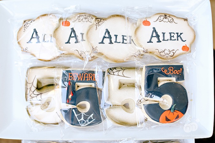 Custom Halloween themed sugar cookies from a Spooky Halloween Inspired Birthday Party on Kara's Party Ideas | KarasPartyIdeas.com (24)