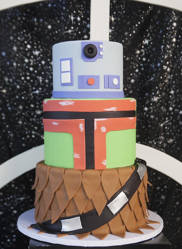 Star Wars Birthday Cake from a Star Wars Birthday Party on Kara's Party Ideas | KarasPartyIdeas.com (9)