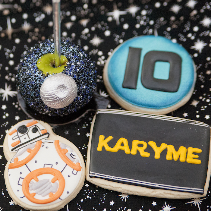 Star Wars cookies and dipped apple from a Star Wars Birthday Party on Kara's Party Ideas | KarasPartyIdeas.com (8)