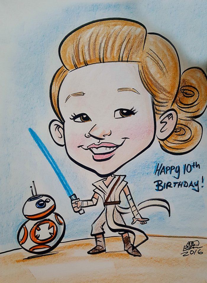 Caricature drawing from a Star Wars Birthday Party on Kara's Party Ideas | KarasPartyIdeas.com (3)
