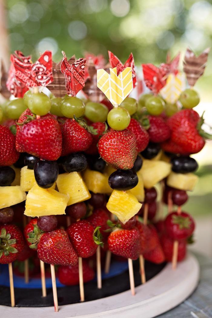 Fruit arrow kabobs from a Summer Camp + Camping Birthday Party on Kara's Party Ideas | KarasPartyIdeas.com (34)