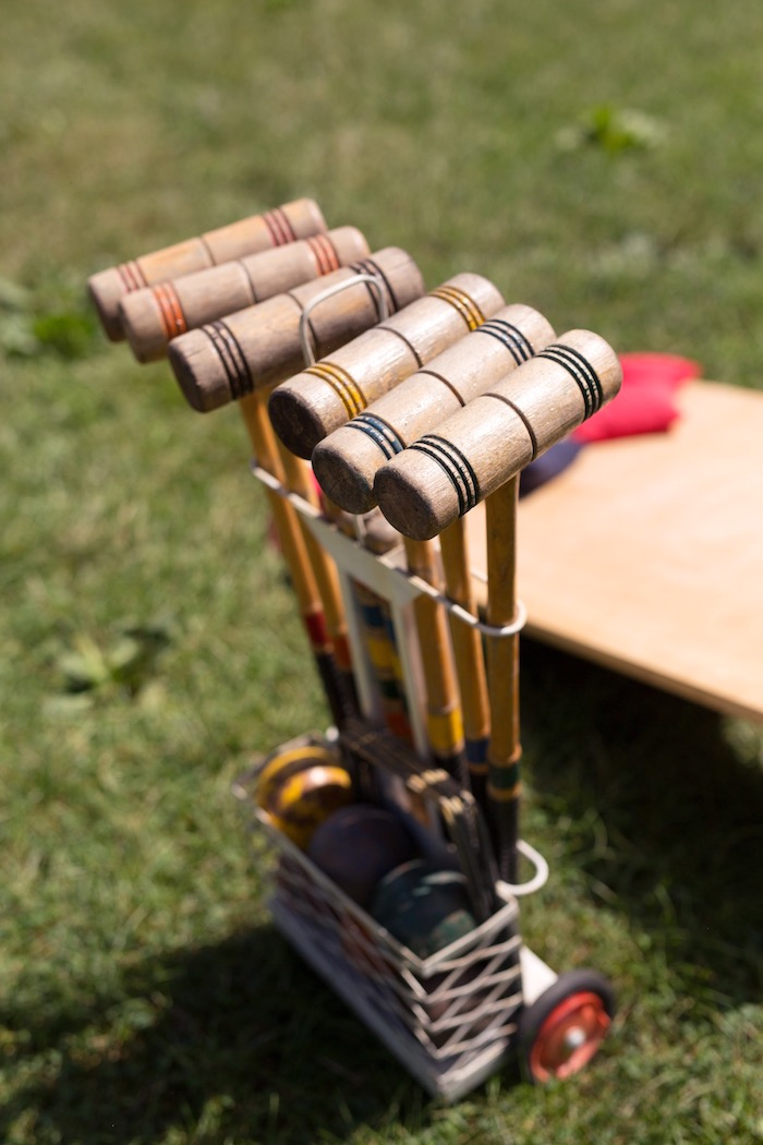 Croquet set from a Summer Camp + Camping Birthday Party on Kara's Party Ideas | KarasPartyIdeas.com (29)