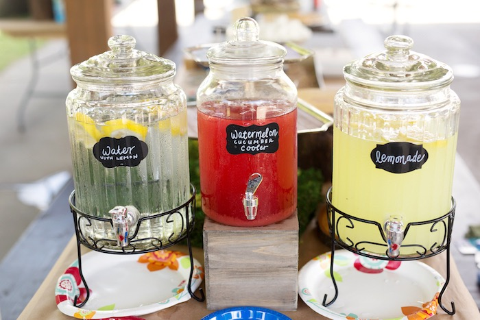 Beverage dispensers from a Summer Camp + Camping Birthday Party on Kara's Party Ideas | KarasPartyIdeas.com (28)
