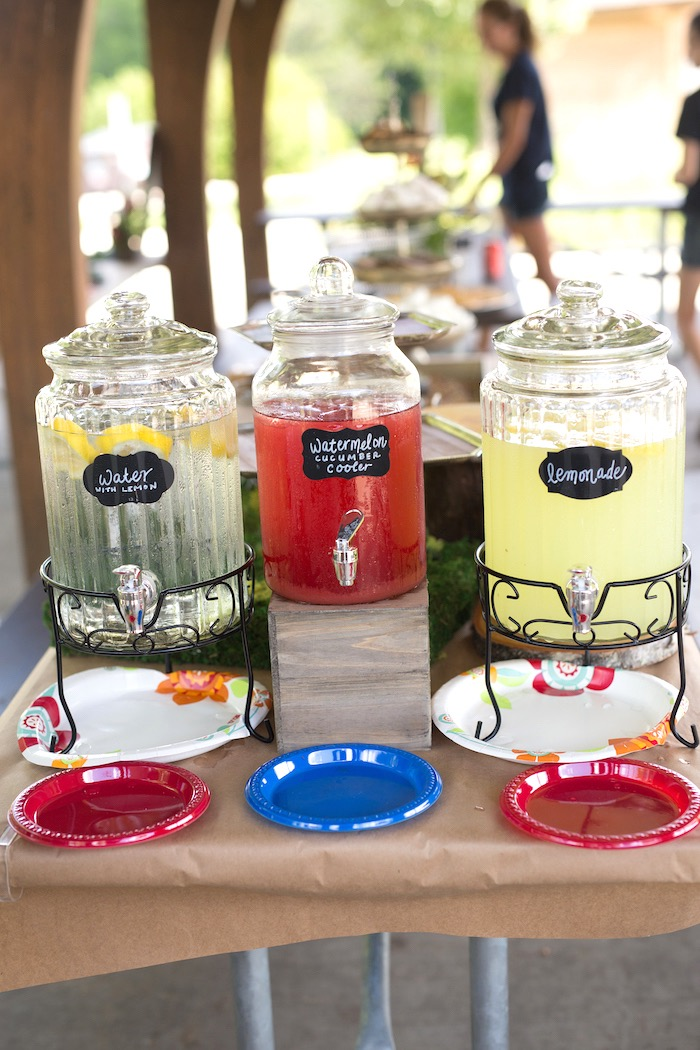 Drink table from a Summer Camp + Camping Birthday Party on Kara's Party Ideas | KarasPartyIdeas.com (27)
