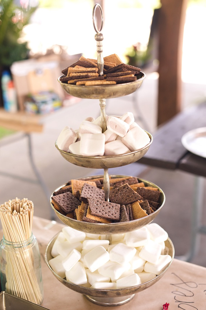 S'mores bar from a Summer Camp + Camping Birthday Party on Kara's Party Ideas | KarasPartyIdeas.com (44)