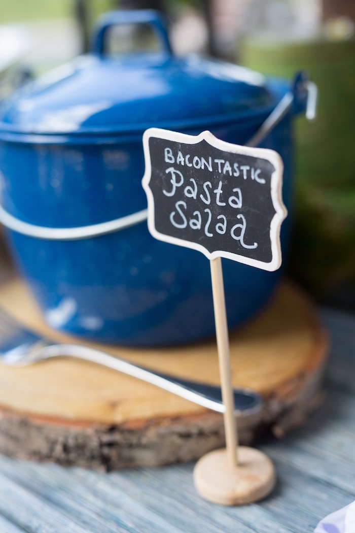 Chalkboard label from a Summer Camp + Camping Birthday Party on Kara's Party Ideas | KarasPartyIdeas.com (25)
