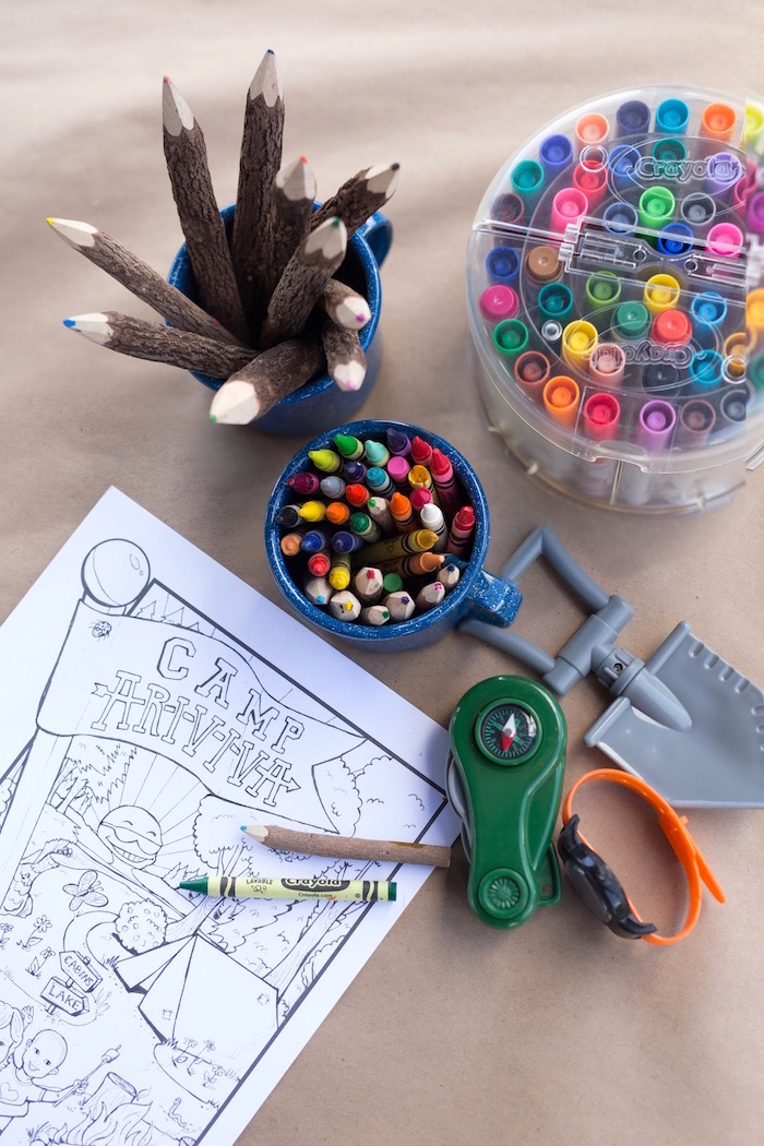 Coloring station from a Summer Camp + Camping Birthday Party on Kara's Party Ideas | KarasPartyIdeas.com (24)