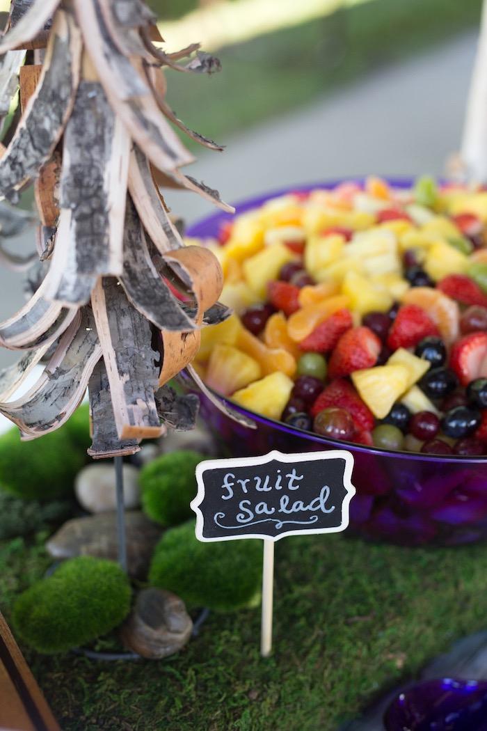 Bark tree + fruit salad from a Summer Camp + Camping Birthday Party on Kara's Party Ideas | KarasPartyIdeas.com (22)