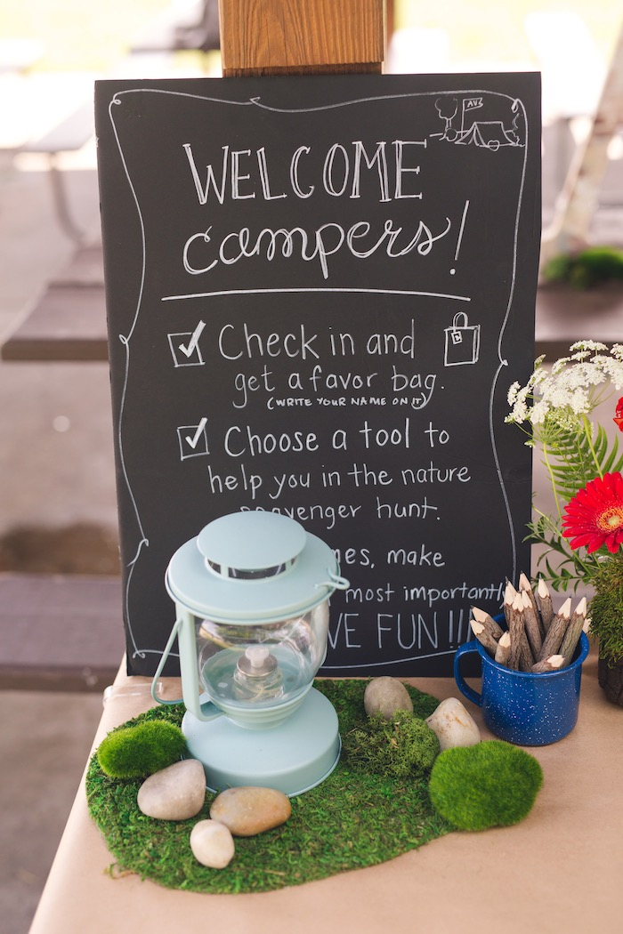 Chalkboard welcome + agenda sign from a Summer Camp + Camping Birthday Party on Kara's Party Ideas | KarasPartyIdeas.com (43)