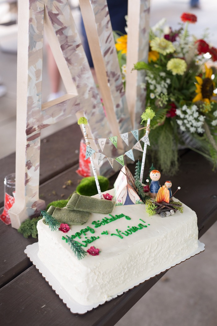 Camping cake from a Summer Camp + Camping Birthday Party on Kara's Party Ideas | KarasPartyIdeas.com (14)