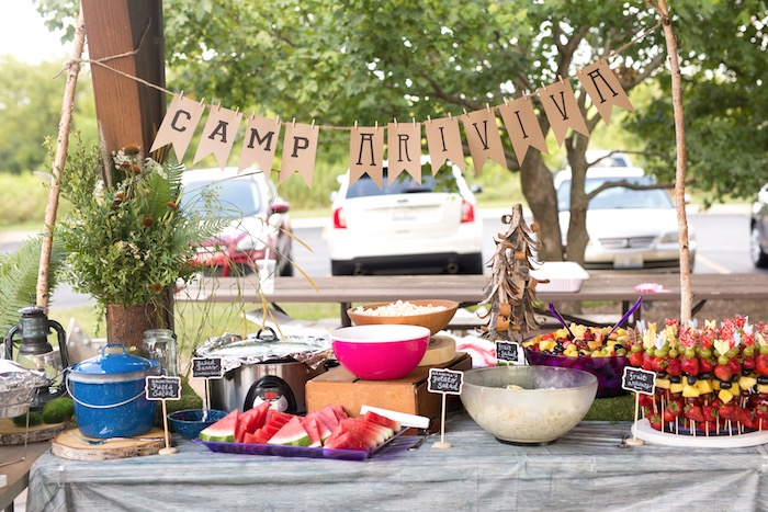 Head table from a Summer Camp + Camping Birthday Party on Kara's Party Ideas | KarasPartyIdeas.com (13)