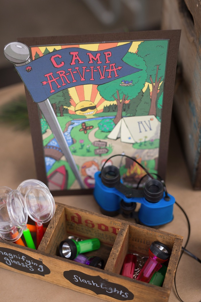 Printed sign + magnifying glasses + flashlights from a Summer Camp + Camping Birthday Party on Kara's Party Ideas | KarasPartyIdeas.com (10)