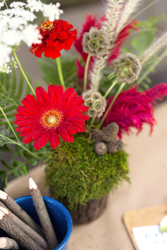 Floral arrangement from a Summer Camp + Camping Birthday Party on Kara's Party Ideas | KarasPartyIdeas.com (9)