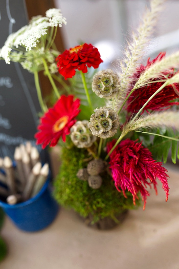 Wild flower arrangement from a Summer Camp + Camping Birthday Party on Kara's Party Ideas | KarasPartyIdeas.com (41)
