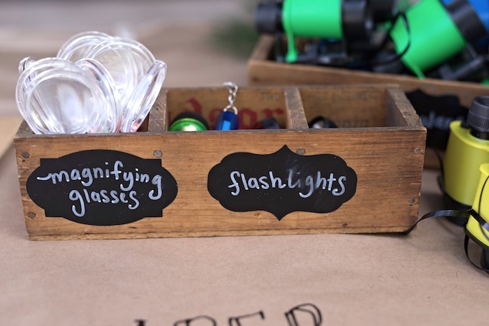 Magnifying glasses + flashlight favors from a Summer Camp + Camping Birthday Party on Kara's Party Ideas | KarasPartyIdeas.com (39)