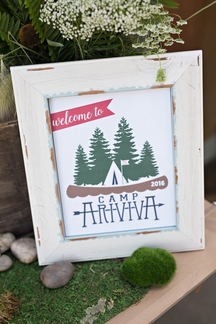 Welcome sign from a Summer Camp + Camping Birthday Party on Kara's Party Ideas | KarasPartyIdeas.com (37)