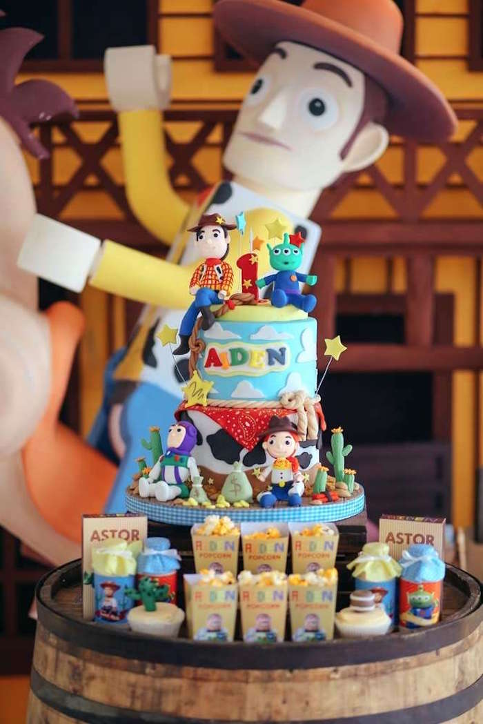 Wood barrel cakescape from a Toy Story Birthday Party on Kara's Party Ideas | KarasPartyIdeas.com (15)