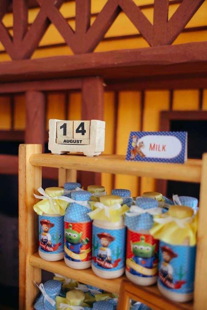 Milk bottles from a Toy Story Birthday Party on Kara's Party Ideas | KarasPartyIdeas.com (9)