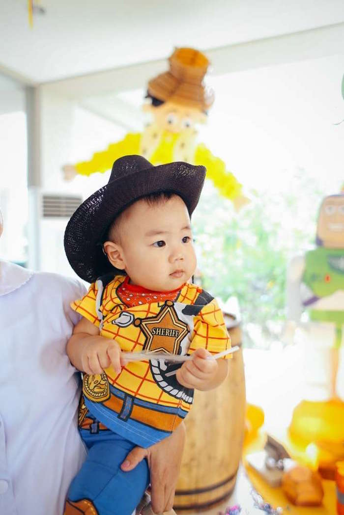 Birthday boy dressed up as Woody from a Toy Story Birthday Party on Kara's Party Ideas | KarasPartyIdeas.com (5)