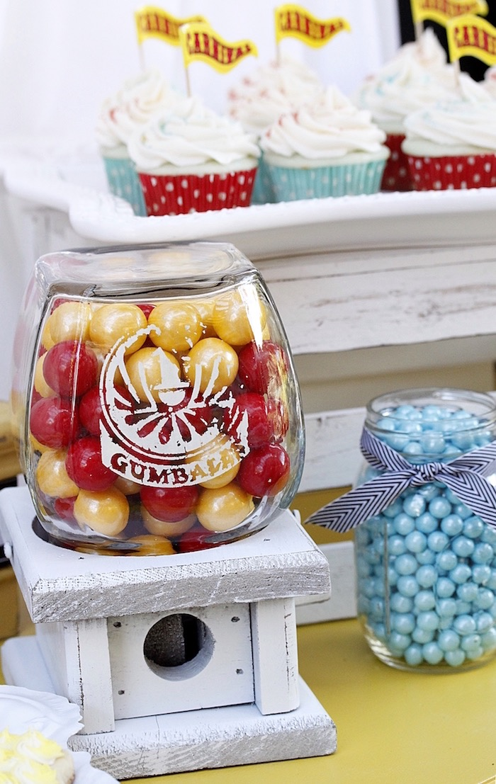 Wooden gumball machine from a Vintage Carnival Birthday Party on Kara's Party Ideas | KarasPartyIdeas.com (23)