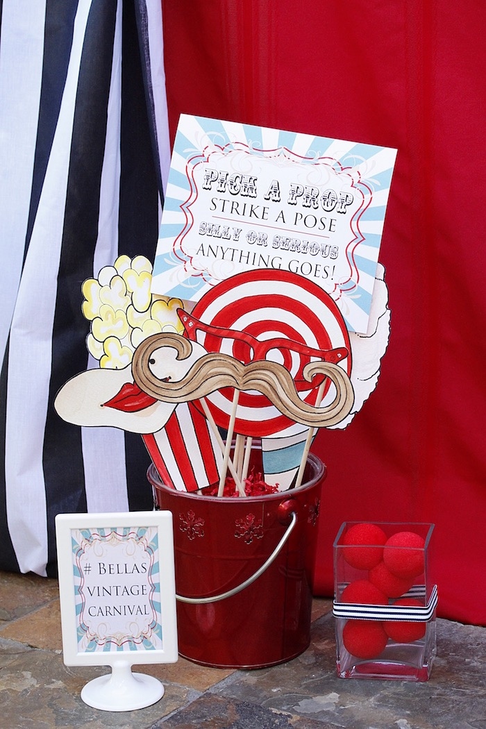 Photo booth props from a Vintage Carnival Birthday Party on Kara's Party Ideas | KarasPartyIdeas.com (22)
