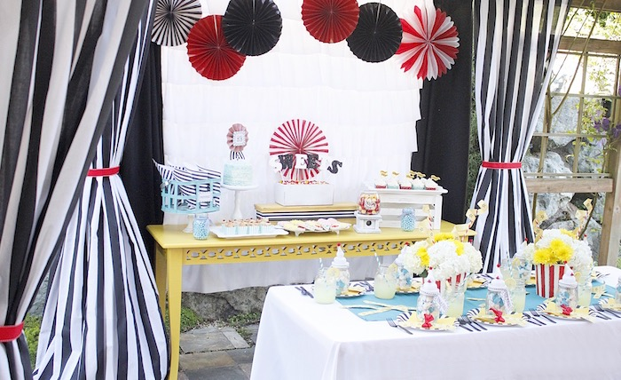 Carnival party spread from a Vintage Carnival Birthday Party on Kara's Party Ideas | KarasPartyIdeas.com (21)