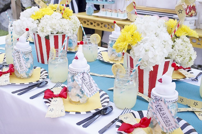 Guest tablescape from a Vintage Carnival Birthday Party on Kara's Party Ideas | KarasPartyIdeas.com (20)