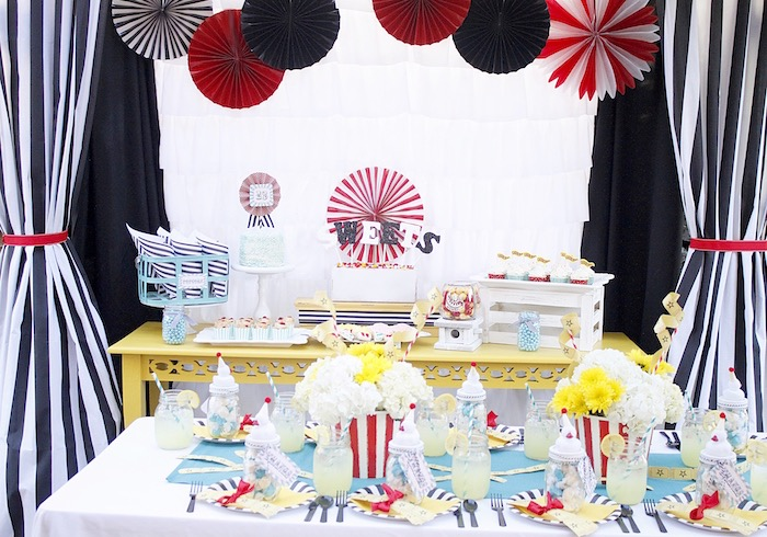 Party tables from a Vintage Carnival Birthday Party on Kara's Party Ideas | KarasPartyIdeas.com (19)