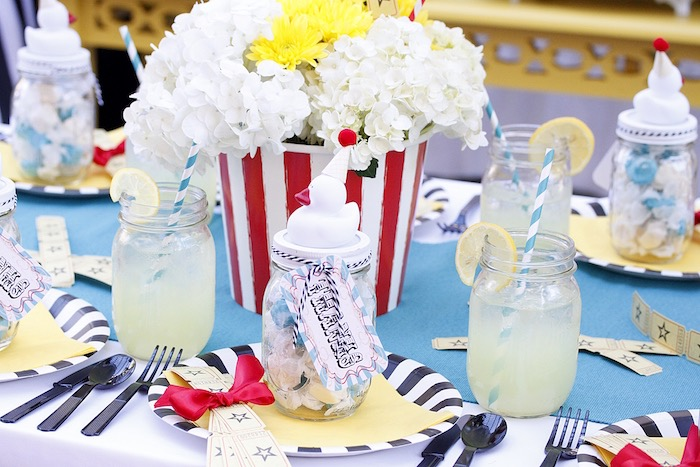 Place setting from a Vintage Carnival Birthday Party on Kara's Party Ideas | KarasPartyIdeas.com (35)