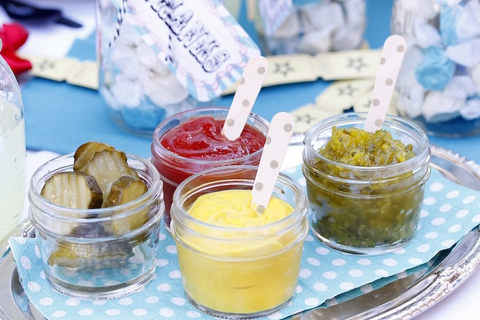 Condiment jars from a Vintage Carnival Birthday Party on Kara's Party Ideas | KarasPartyIdeas.com (16)