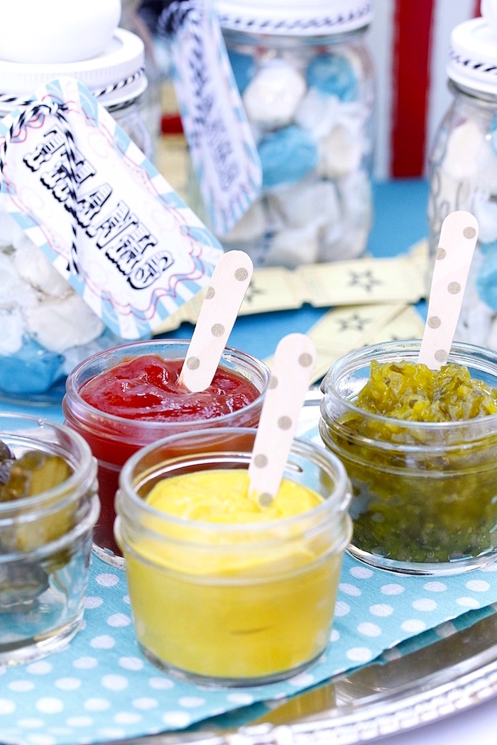 Condiment jars from a Vintage Carnival Birthday Party on Kara's Party Ideas | KarasPartyIdeas.com (15)