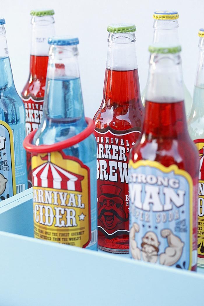 Soda drinks from a Vintage Carnival Birthday Party on Kara's Party Ideas | KarasPartyIdeas.com (10)