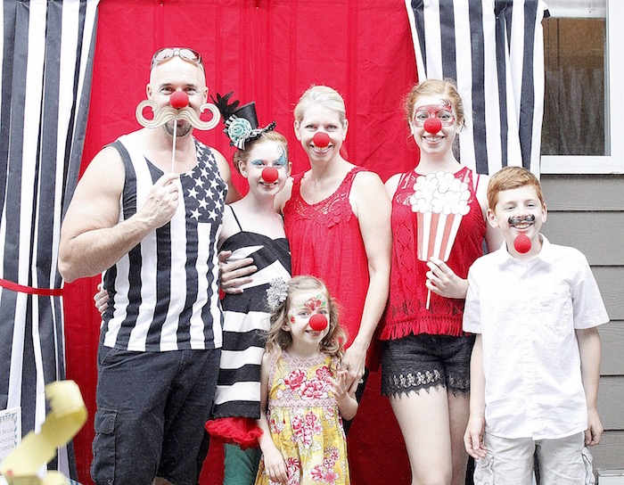 Photo booth from a Vintage Carnival Birthday Party on Kara's Party Ideas | KarasPartyIdeas.com (7)