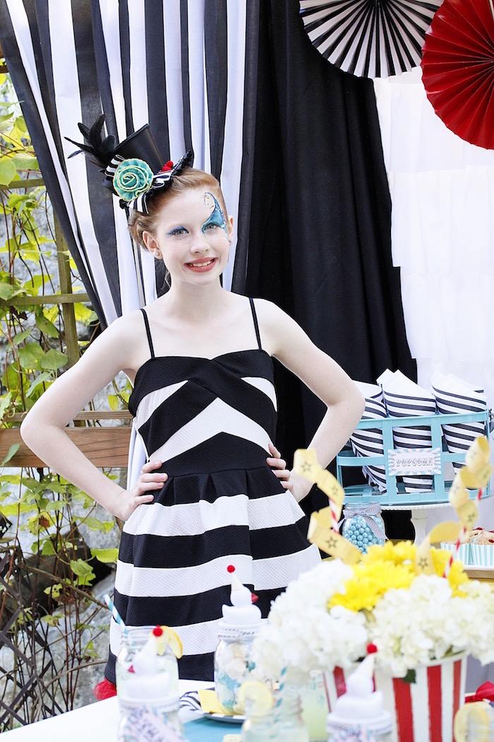 Birthday girl from a Vintage Carnival Birthday Party on Kara's Party Ideas | KarasPartyIdeas.com (32)