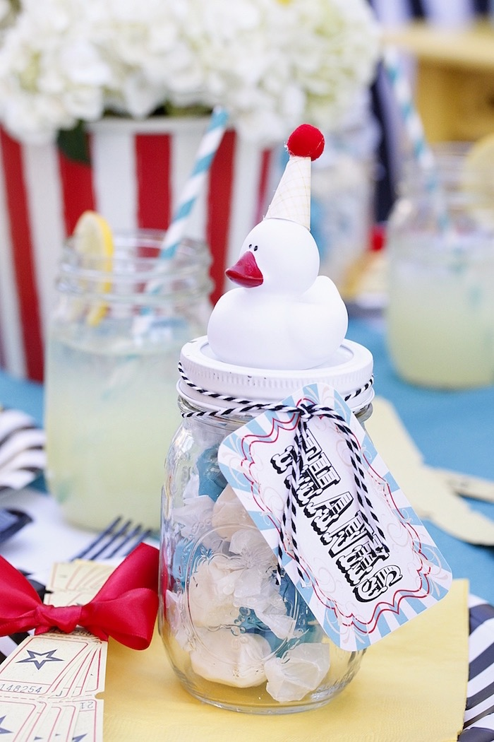 Rubber duck candy jar from a Vintage Carnival Birthday Party on Kara's Party Ideas | KarasPartyIdeas.com (31)
