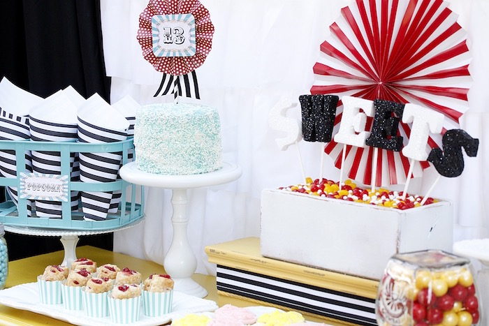 Sweet table setup from a Vintage Carnival Birthday Party on Kara's Party Ideas | KarasPartyIdeas.com (29)