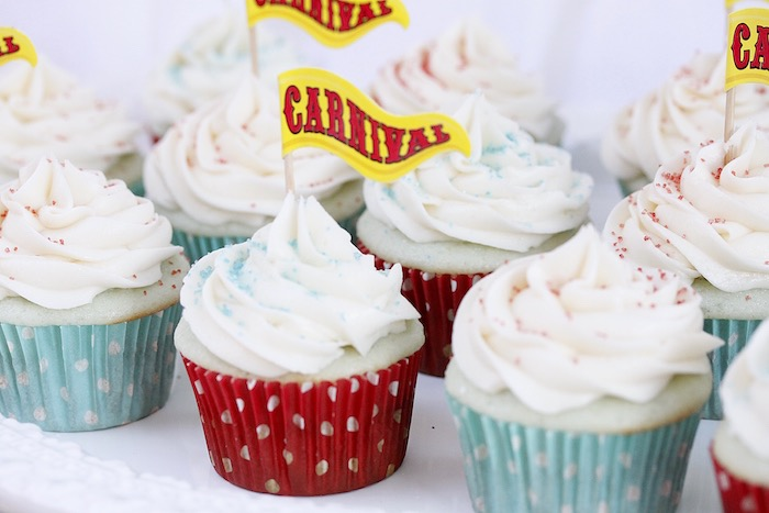 Carnival cupcakes from a Vintage Carnival Birthday Party on Kara's Party Ideas | KarasPartyIdeas.com (28)