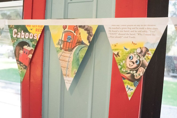 Golden book-inspired pennant banner from a Vintage Little Golden Trains Birthday Party on Kara's Party Ideas | KarasPartyIdeas.com (26)